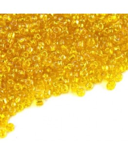 Perles de rocailles 2mm jaune irisé