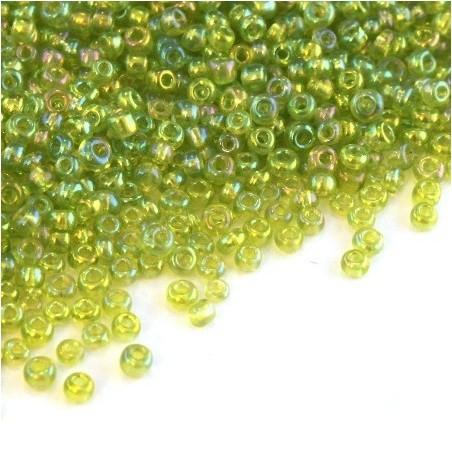 Perles de rocailles 2mm vert pomme irisé