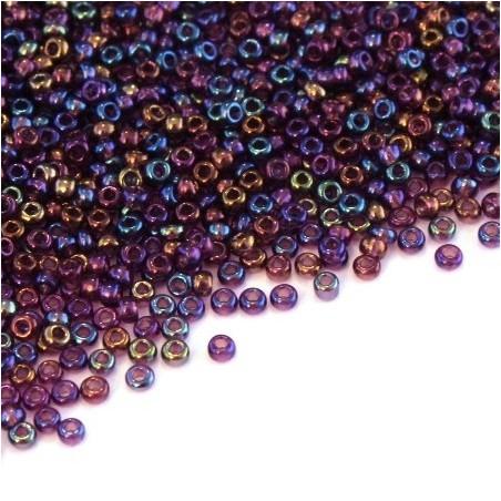 Perles mini rocailles violet irisé AB 1,5mm