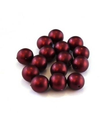 Perles nacrées givrées 8mm bordeaux