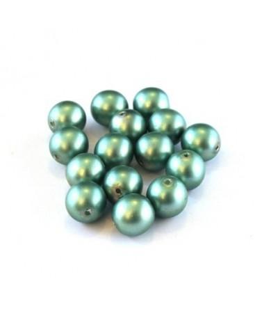Perles nacrées givrées 8mm vert