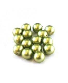 Perles nacrées givrées 8mm vert olive