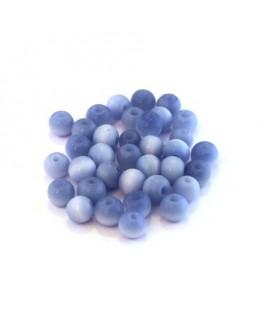 Perles verre oeil de chat artisanales 6mm bleuet