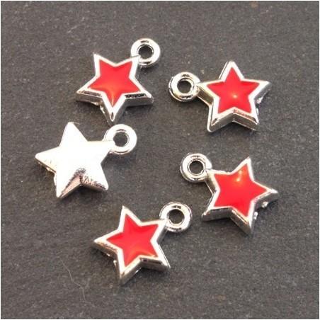 Breloques émaillées étoile rouge x5