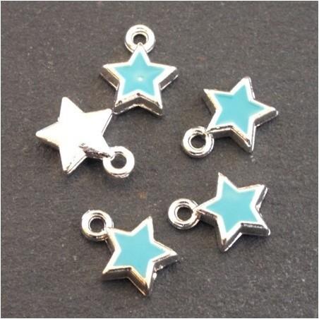 Breloques émaillées étoile turquoise x5