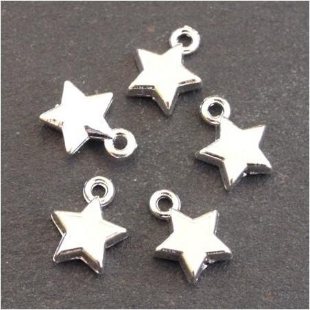 Breloques émaillées étoile blanc x5