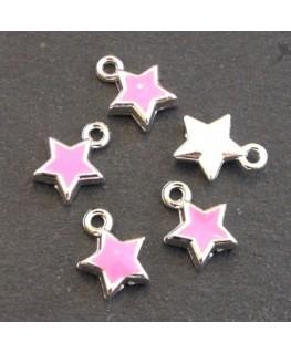 Breloques émaillées étoile rose x5