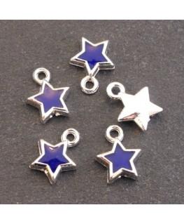 Breloques émaillées étoile bleu foncé x5