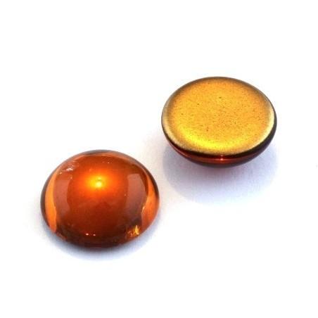 Cabochons verre de bohème 18mm ambre