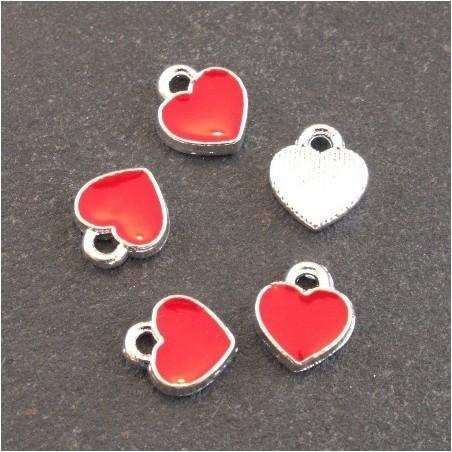 Breloques émaillées coeur rouge x5