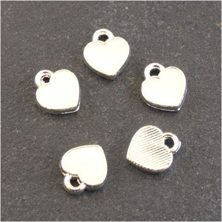Breloques émaillées coeur blanc x5