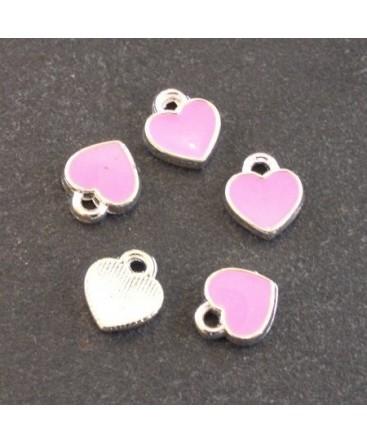 Breloques émaillées coeur rose x5