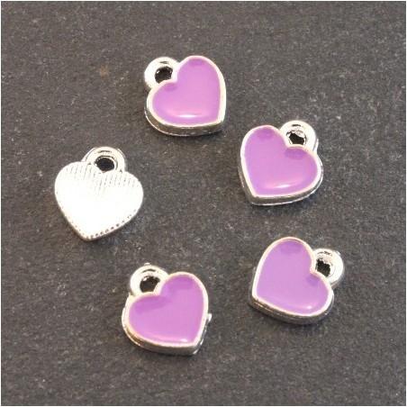 Breloques émaillées coeur violet x5
