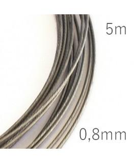 Fil câblé pour bijoux 0,8mm gris