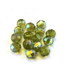 Perles à facettes 8mm vert olivine AB x15