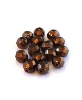 Perles à facettes 8mm marron cuivré x15