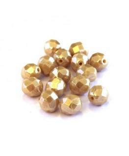 Perles à facettes 8mm beige opaque lustré x15