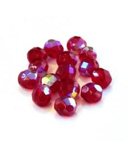 Perles à facettes 8mm rouge AB x15