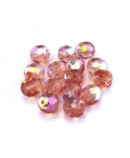 Perles à facettes 8mm rose pêche AB x15
