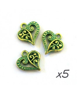 Breloque coeur arabesque vert de gris x5