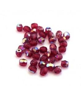 Perles à facettes 4mm fuchsia AB irisé