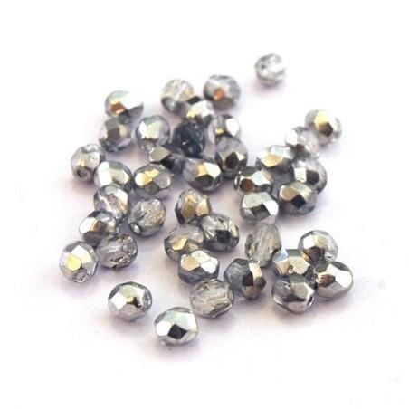 Perles à facettes 4mm cristal argent métallisé