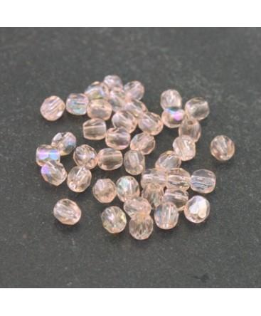 Perles à facettes 4mm rose clair AB irisé