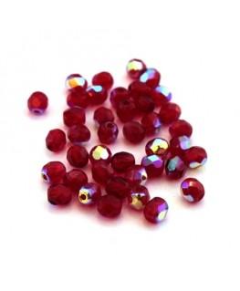 Perles à facettes 4mm rouge siam AB