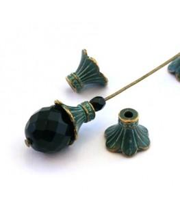 Perle coupelle métal vert de gris