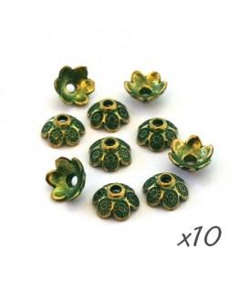 Perle coupelle patine vert de gris 9mm