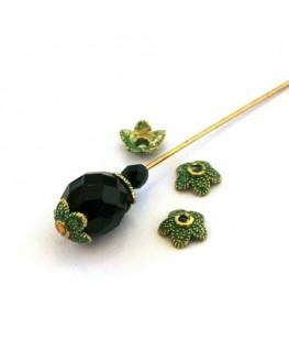 Perle métal coupelle vert de gris
