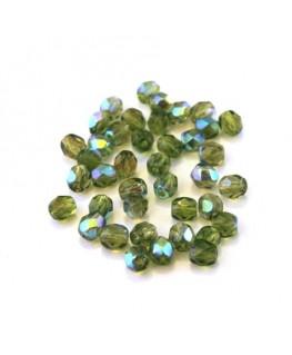 Perles à facettes 4mm olivine AB x40