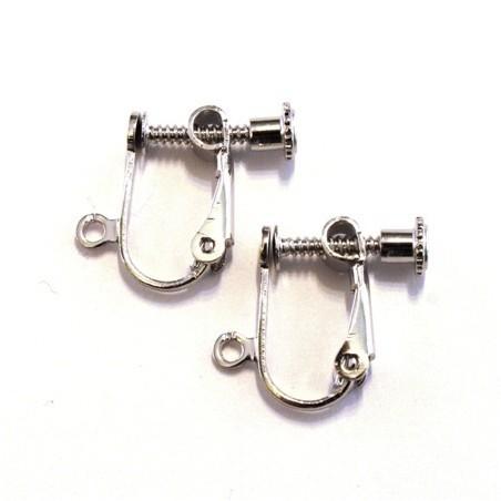 Attaches boucles d'oreilles clip vieil argent
