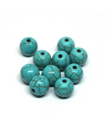 Perles gemmes turquoise 8mm