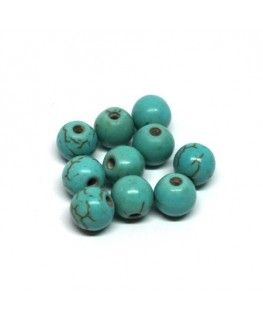 Perles gemmes turquoise 6mm