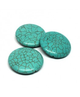 Perle disque turquoise pierre 34mm