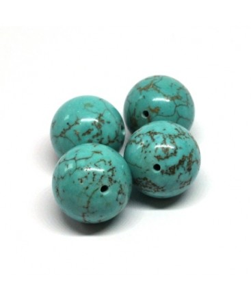 Perle ronde pierre turquoise 14mm