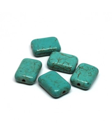 Perles rectangulaires pierre turquoise 14mm