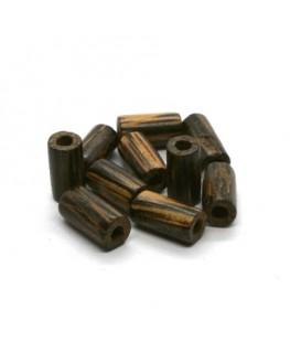 Perles en bois exotique cylindres 10mm