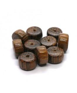 Perles en bois exotique rondelles palmier 15mm