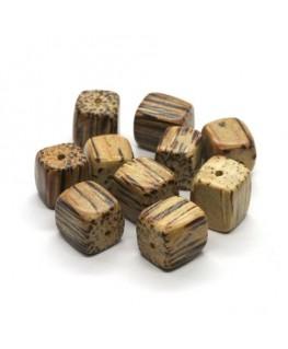 Perles en bois exotique cubes palmier 10mm