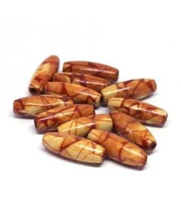 Perles olives en bois imprimées 23mm