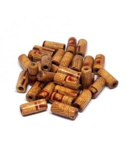 Perles tubes en bois imprimées 12mm