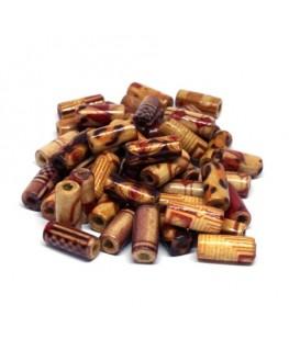 Perles tubes en bois imprimées 12mm assortiment