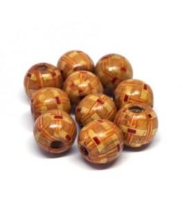Perles en bois imprimées 15mm