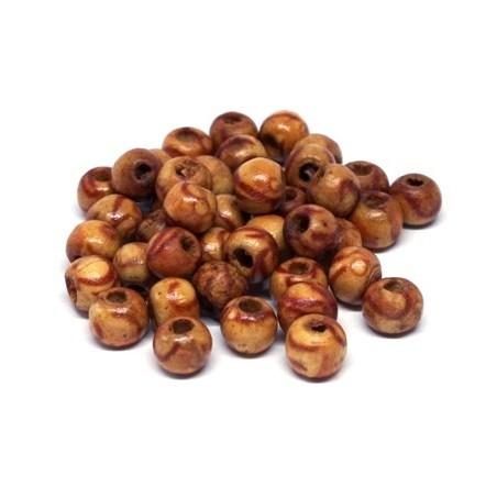 Perles en bois Indiennes imprimées 6mm