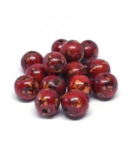 Perles en bois imprimées Indiennes 13mm