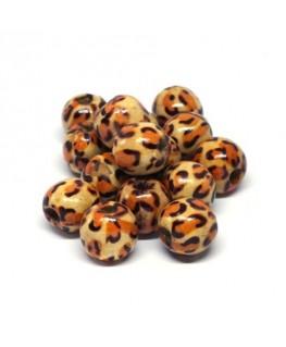 Perles en bois imprimées 12mm motif léopard