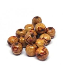 Perles en bois imprimées motif 12mm
