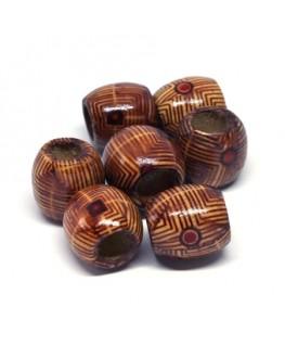 Perles tonneau en bois imprimées 16mm